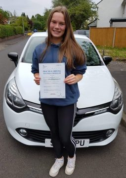 Catriona passing her driving on the 3rd June 2021.
