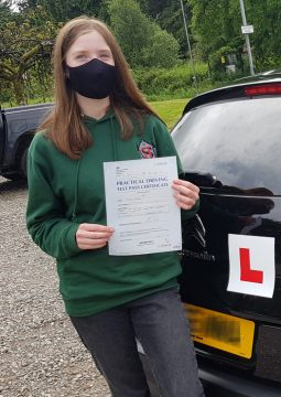 Isabel passing her driving test on the 16th June 2021.
