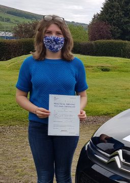 Rachel passing her driving test on the 26th May 2021.
