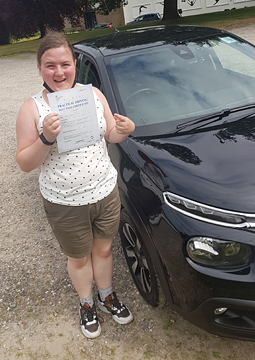 Caitlin passing her driving test on the 22nd July 2021.
