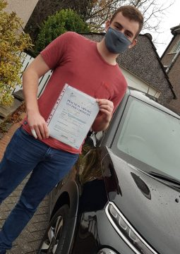 Ewan passing his driving test on the 14th November 2020.