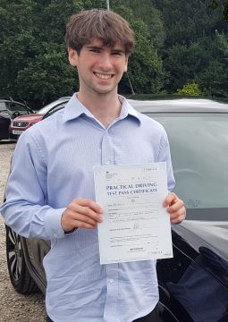 Jarvis passing his driving test on the 31st August 2021.