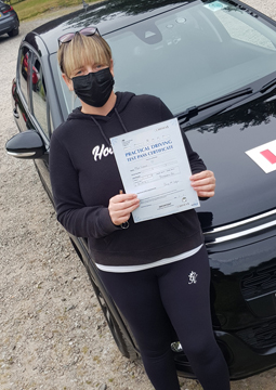Lynne passing her driving test on the 27th July 2021.