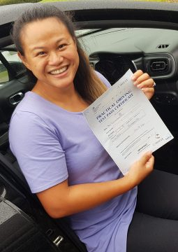 Preaw passing her driving test on the 11th August 2021.